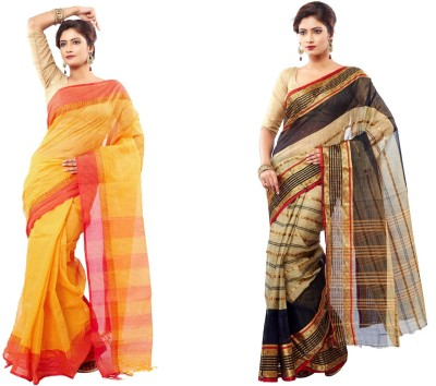 FabIndian Embriodered Tant Handloom Cotton Sari