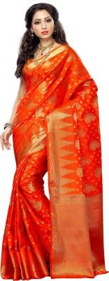 Mimosa Printed Kanjivaram Tussar Silk Saree(Orange) at flipkart