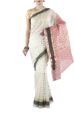 Banarasi Drapes Polka Print Chanderi Cotton Sari