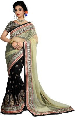 Shoppershopee Embriodered Bollywood Net, Jacquard Sari