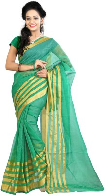 Needle Impression Printed Assam Silk Handloom Silk Sari(Green)