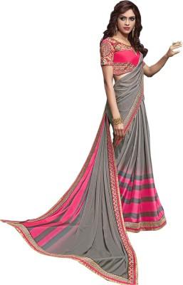 Jhankar Collection Graphic Print Bollywood Silk, Chiffon Sari