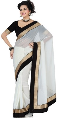 Rockchin Fashions Plain Fashion Georgette Sari