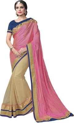 Manish Creation Embriodered, Self Design Bollywood Raw Silk, Net Sari
