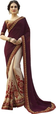 Isha Enterprise Embriodered Fashion Georgette Sari