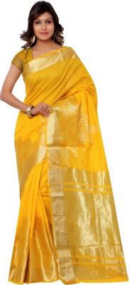 Varkala Silk Sarees Woven, Self Design Banarasi Cotton Saree(Gold) at flipkart