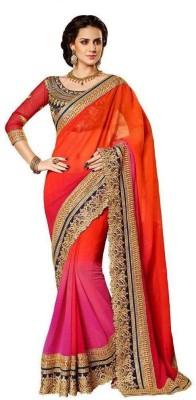 Om Shantam Sarees Self Design, Embriodered Fashion Pure Georgette Sari