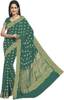 Rajguru Rise Polka Print Banarasi Chiffon Sari