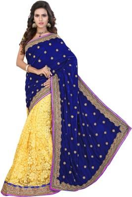 Jhenny Fabrics Embriodered Fashion Handloom Velvet, Net Sari