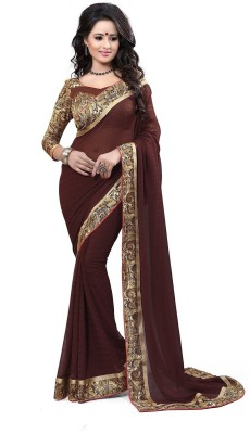 Drapme Floral Print, Solid Fashion Chiffon Sari