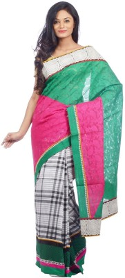 Shree Saree Kunj Self Design, Checkered Chanderi Handloom Chanderi Sari