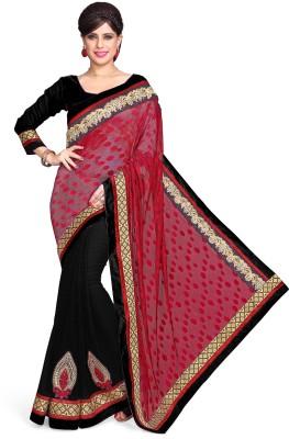 Sourbh Sarees Embriodered Fashion Jacquard, Chiffon Sari