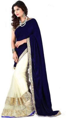TAPI INTERNATIONAL Embriodered Fashion Velvet, Net Sari