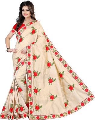 Meetwa Designer Embroidered Daily Wear Art Silk Saree Beige, Red  available at Flipkart for Rs.999