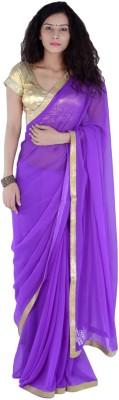 Bashii Solid Bollywood Georgette, Art Silk Sari