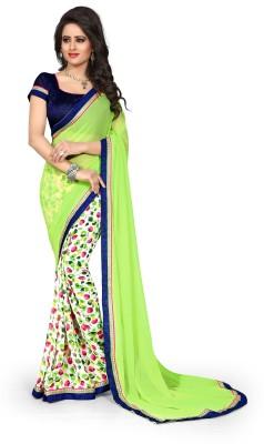 Drapme Floral Print, Printed Fashion Chiffon Sari