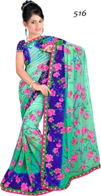 Indian Styles Embriodered Bollywood Pure Georgette Sari