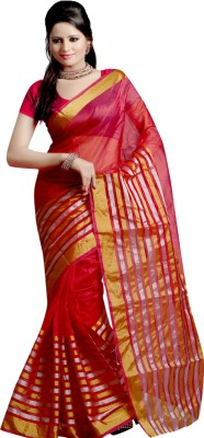 Sanju Sarees Solid Fashion Silk Saree(Red) at flipkart