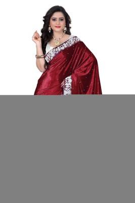 KESARSAREES Solid Bollywood Velvet Sari