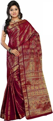 Alankrita Self Design, Woven Kanjivaram Art Silk, Jacquard, Chanderi, Nylon Sari