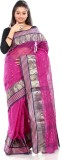 B3Fashion Solid Tant Cotton Saree (Pink)