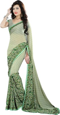 Avsar Prints Floral Print, Printed, Solid Bollywood Georgette Sari
