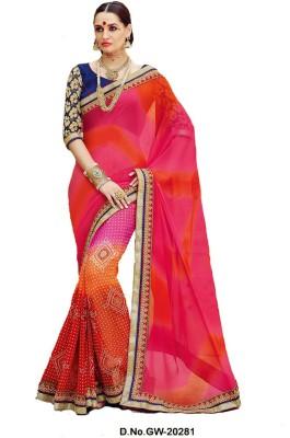 Glad2baWoman Printed Bandhej Georgette Sari