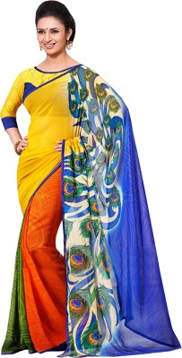 Jassu Fashion Hub Self Design Fashion Crepe Sari