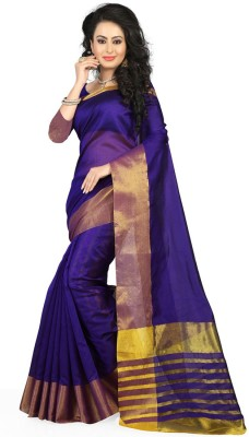 BAPS Solid Bollywood Cotton Saree(Purple) at flipkart
