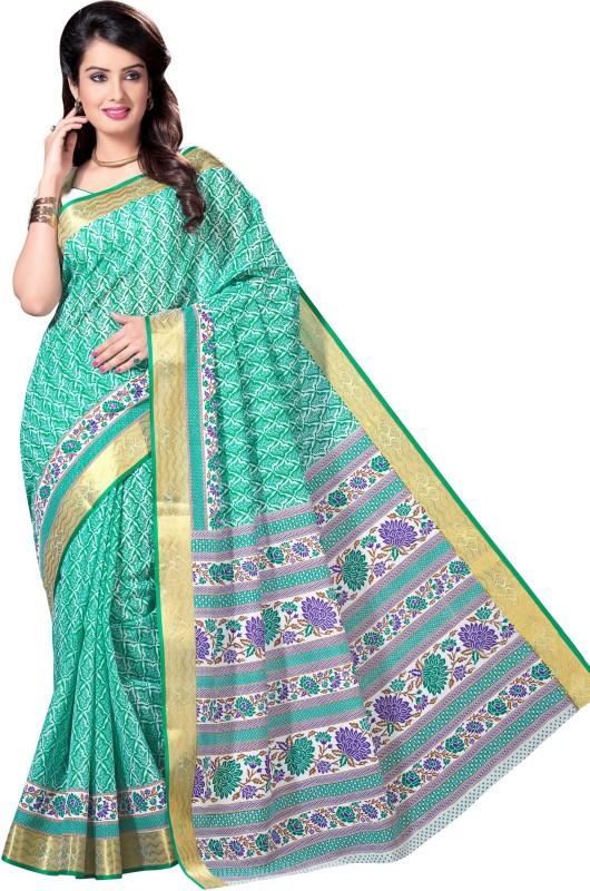 Aarti Apparels Printed Gadwal Cotton Saree(Light Green)