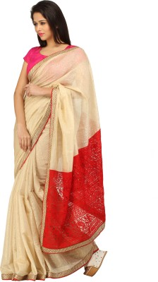 Charming Solid Lucknow Chikankari Jacquard Sari