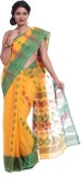 Adaab Self Design Tant Cotton Saree (Yel...