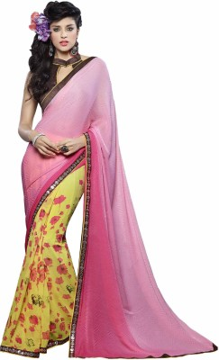 Kvsfab Floral Print Fashion Georgette, Jacquard Saree(Yellow, Pink) at flipkart