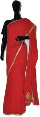 inches Plain Bollywood Pure Chiffon Sari