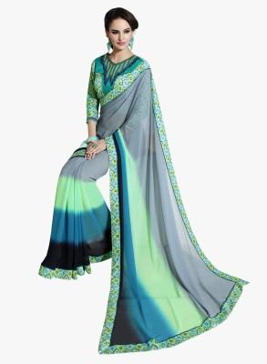 Kvsfab Solid Fashion Georgette Saree(Multicolor) at flipkart