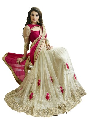 RASSAM Embriodered Bollywood Net Sari