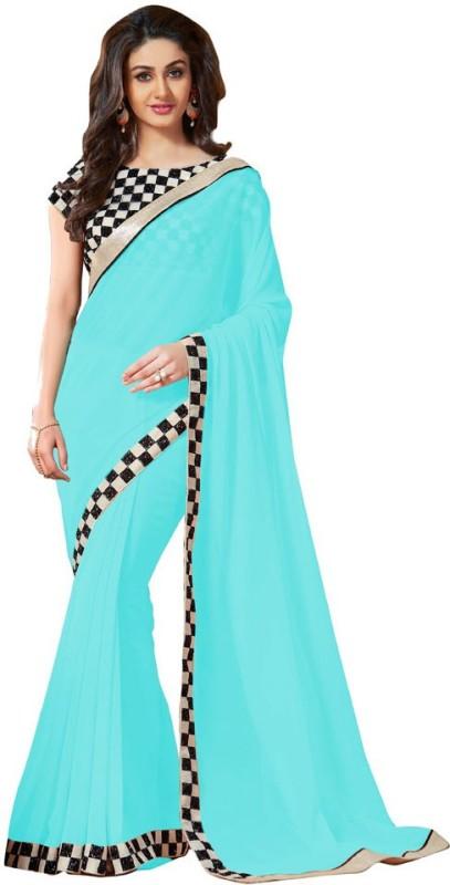 Khantil Solid Fashion Georgette Saree(Blue)