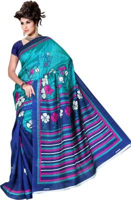 Raj Creative Floral Print Bhagalpuri Silk Sari