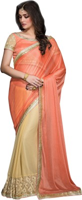 Crafts N Culture Embriodered, Woven Fashion Chiffon Sari