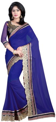 Nimi Fashion Self Design, Embriodered, Solid, Woven Fashion Handloom Georgette Sari
