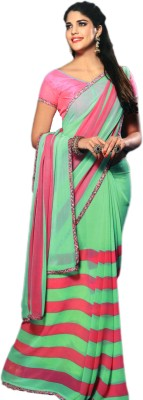 Ganghs Striped, Printed Fashion Georgette Sari