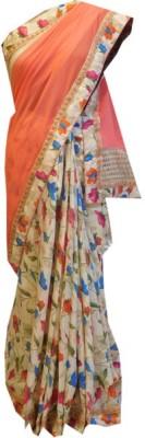 Shree Mansa Saree Floral Print Bollywood Georgette, Dupion Silk Sari