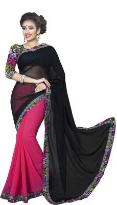 Mahakali art Floral Print Bollywood Chiffon Sari