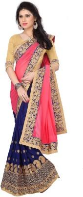 Pragati Fashion Hab Embroidered Fashion Georgette Sari(Beige)