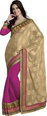 Subhash Sarees Embriodered Fashion Jacquard, Georgette Sari