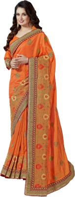 M.S.Retail Embroidered Bollywood Brasso Saree(Orange) at flipkart
