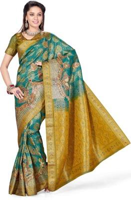 Arjuns Solid, Woven, Embriodered, Embellished Kanjivaram Art Silk Sari