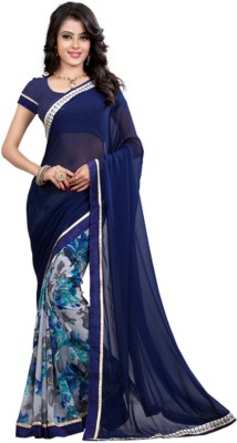 Krishnam Fashion Printed, Embellished Daily Wear Georgette Sari