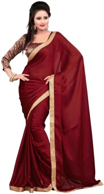 Nairiti Fashions Solid Bollywood Satin, Chiffon Sari