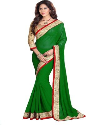 Sourbh Sarees Solid Fashion Georgette Saree(Green) at flipkart